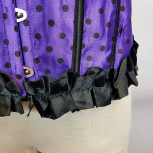 Intimates & Sleepwear - Plus purple polka dot with black ruffles corset